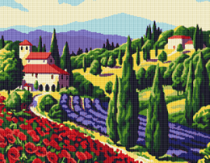 Cross stitch pattern of a beautiful summer landscape in Tuscany.