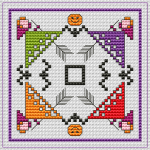 Halloween-themed biscornu designed for 14 count White Evenweave.