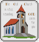 "Cross stitch pattern depicting an old church.The text is:""The Old Church is still standing... GOD cares for you""."