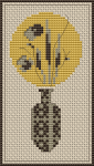 Abstract pattern of a vase with flowers in muted, brown colors.