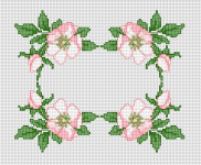 Beautiful cross stitch pattern of wild roses arranged in a border.