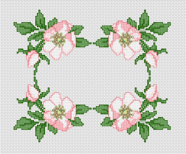 Wild Rose Border free cross stitch pattern