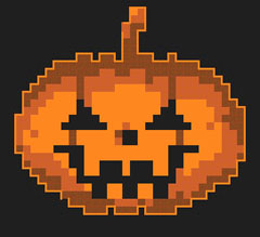 Cute pattern of a pumpkin for your Halloween cross stitch projects.