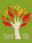 Abstract cross stitch pattern of an autumn tree in the shape of a hand.