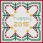 Cross stitch pattern for greeting cards or biscornu on white Aida.