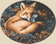 Beautiful cross stitch pattern of a brown fox in the woods.