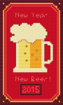 "Funny cross stitch pattern on red Aida with the text: ""New Year, New Beer""."