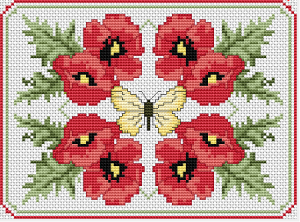 Butterfly surrounded by red poppies.A beautiful composition to decorate your walls.