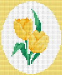 Beautiful yellow tulips on a light background stitched with just five colors of floss. The gift of a tulip is a declaration of love, the flower's black center representing a heart burned by passion.