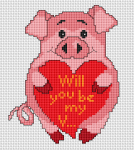 "Adorable piggy holding a heart with the text ""Will you be my V..."""