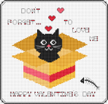 "Funny cross stitch pattern of a cat peeking out of a box with the text ""Don't forget... to love me."""