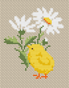 Cross pattern of a cute yellow chick next to a daisy