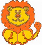 Five-color design of a happy lion for kids and beginner stitchers.