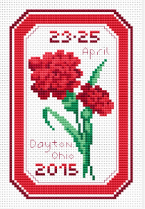 Red carnations cross stitch pattern- the official  state flower of Ohio.