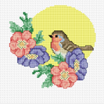Colorful pattern of a cute robin with flowers.Complete and frame it to make a very special gift for birds lovers.