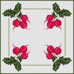 Border composition with radishes.The chart contains whole stitches and backstitch
