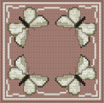 Stylized border of butterflies. The pattern is stitched with beige and light brown colors.