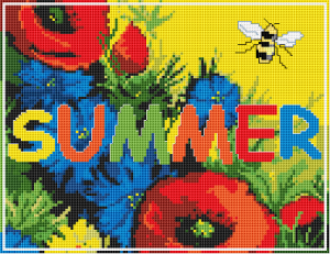"Bee flying over a field of flowers and the text ""Summer""."