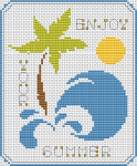 "Stylized tropical island with the text ""Enjoy Your Summer"""