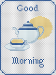 "Cross stitch pattern celebrating morning tea! A composition of a teapot and a cup of tea with the text:""Good Morning"""