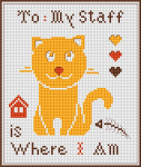 "Cute cross stitch pattern of a funny cat and the text:""To my staff:Home is where I am"""