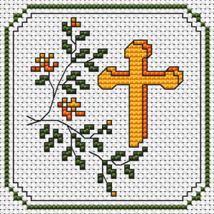 Christian pattern of the cross next to a floral motif.