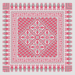 Beautiful table-cloth cross stitch in red and black.