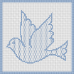 Wonderful and simple pattern of a blue dove, a symbol of love and peace.