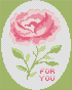 Beautiful pink rose on a light green background and the text:For You.