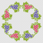 Stylized grape vine with bunches and leaves. This oval-shaped pattern is ideal for decorating a table-cloth.