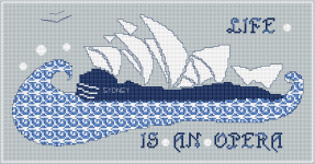 Stylized cross stitch pattern of the Sydney Opera house.