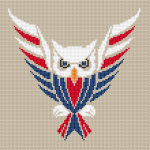 Patriotic cross stitch of a cute owl in the colors of the American flag.