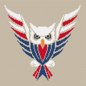 Owl USA cross stitch pattern