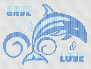 Marine themed cross stitch pattern. Save and love the dolphins.