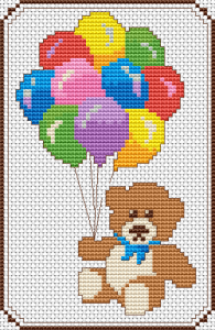 free cross stitch pattern Teddy with ballons