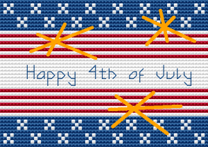 Patriotic cross stitch.Stylized flag with the text: Happy 4th of July.