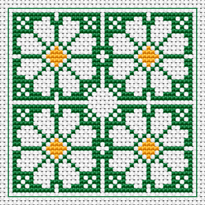 Stylized daisies cross stitch pattern.Suitable for biscornu making and other crafts projects.