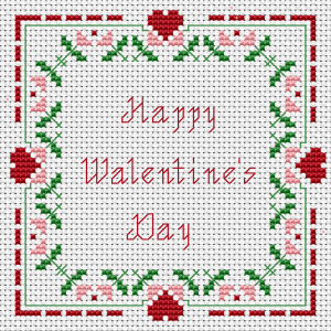 Stylized cross stitch pattern with floral motifs and hearts.