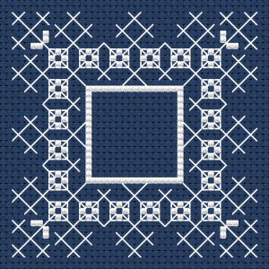 Monochrome cross stitch design for biscornu making on dark blue fabric using full stitches and back stitches.