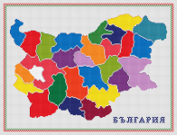 Administrative map of Bulgaria in bright colors. Contains full stitch and backstitch.