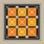 Decorative pattern in yellow and orange color for biscornu making.