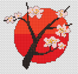 Beautiful pattern of a blossoming cherry tree with the bright red sun behind it.