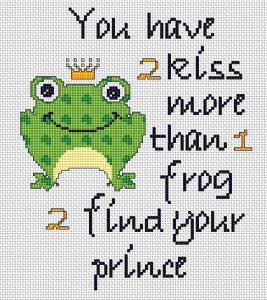 Cute little frog telling us how to find our prince:You have to kiss more than one frog to find your prince.