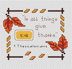 1 Thessalonians 5:18.In all things give thanks.Autumn frame of multicolored leaves.