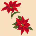 Cross stitch pattern of Poinsettia - traditional Christmas flowering plants.