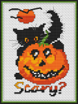 Halloween pattern of a cute kitten next to a pumpkin.