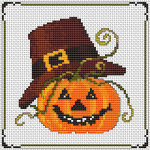 Funny Halloween pumpkin pattern.This pattern uses 10 DMC thread colors.