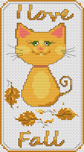 Stylized cat and leaves in golden, autumn-themed colors.