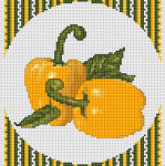 Two peppers in warm yellow and green colors in front of a checkered background.