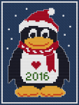 Fun cross stitch pattern of the penguin Tux wearing a Christmas hat.